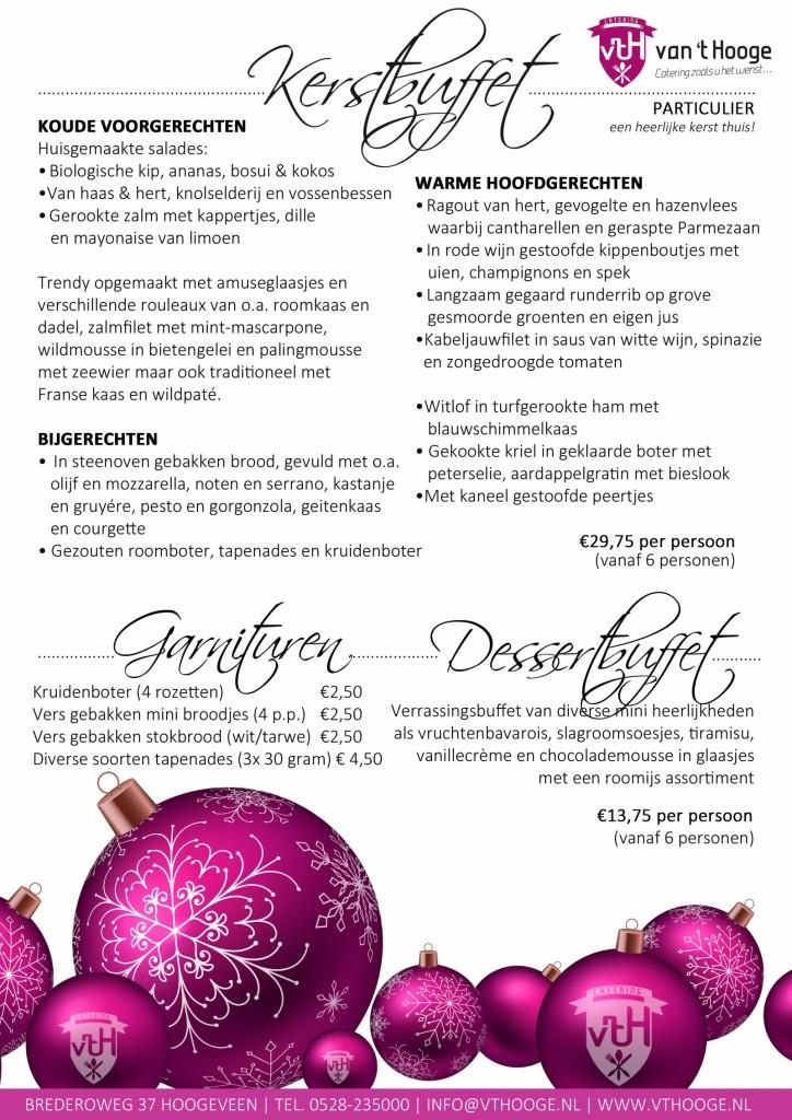 kerst particulier buffet aan huis Catering van 't Hooge